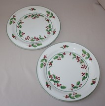 2 Dinner Plates Sango White Christmas Holly Red Berries Green Band - $24.70 & Sango Dinner Plates: 26 listings