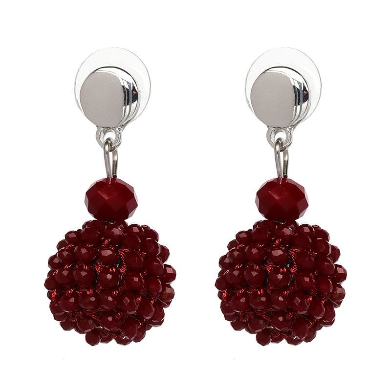 Unique Women's Colorful Bead Micro Pave Ball Drop Earring Gift Party Jewelry for
