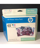 HP PHOTO VALUE PACK 02 CUSTOM PRINTER INK CARTRIDGE NIB BOX 4X6 GLOSSY 1... - $24.75