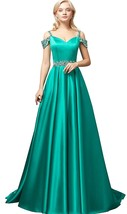 Long Satin Beaded Evening Prom Dress Off The Shoulder A-Line Formal Part... - $129.99