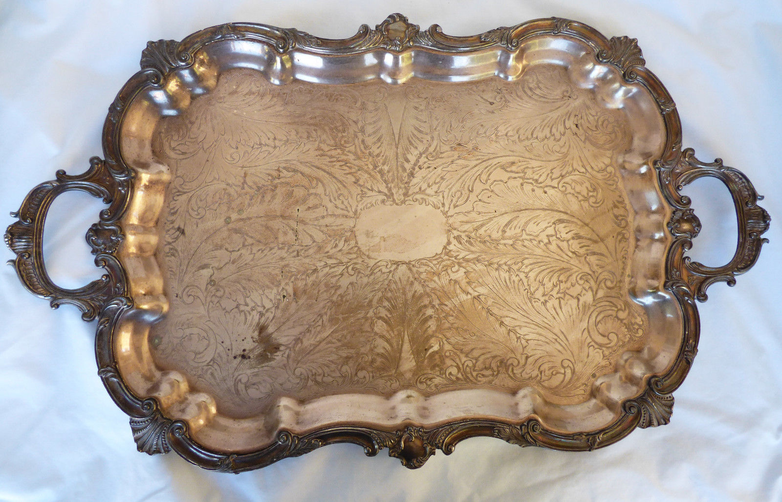 "Primary image for Antique Huge silverplate Footed Waiter Battler Tray 29"" x 17.75"""