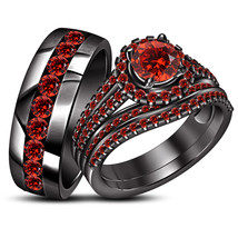 His Her Red Garnet Wedding Anniversary Ring Set 14k Black Gold Finish 92... - $137.75