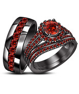 His Her Red Garnet Wedding Anniversary Ring Set 14k Black Gold Finish 92... - £126.03 GBP