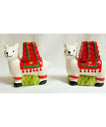Llama, Llama Animal Holiday Salt Pepper Shakers White Red Green - $29.95