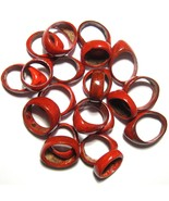 QTY. 10 RED COLOURED COCONUT SHELL WOOD RINGS NUT SEED WHOLESALE QUANTIT... - $12.60