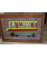 RARE UNIQUE ORIGINAL FOLK ART PAINTING NEW GUINEA TRIBAL BUS FRAMED SIGN... - $474.99