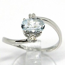 18K WHITE GOLD BAND RING AQUAMARINE 0.65 OVAL CUT & DIAMONDS, MADE IN ITALY image 2