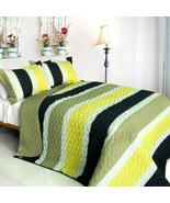 [Polestar] 3PC Vermicelli-Quilted Patchwork Quilt Set (Full/Queen Size) - $94.90