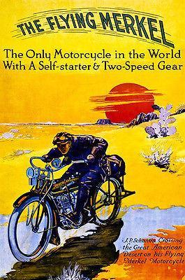 Primary image for 1913 The Flying Merkel Motorcycle - Promotional Advertising Poster