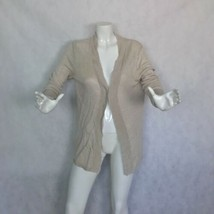 Talbots Sweater Cardigan open beige linen knitted women sz M L - $29.99