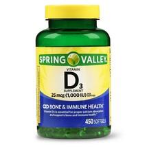Spring Valley Vitamin D3 Softgels, 1000 IU, 450 CounT. - $16.82