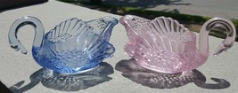 "2 Vintage Boyd Art Glass Swans 5-1/4"" Long Pink and Lavender Blue - $8.90"
