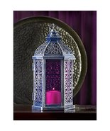 Enchanted Hanging Or Tabletop Metal With Stained Glass Pinkish Purple Gl... - $19.55