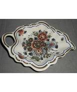 Delfts POLYCHROOM Multi-Color Floral Patter HANDLED LEAF DISH Handwerk H... - $24.74