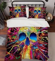 3D Color Skull 2 Bed Pillowcases Quilt Duvet Cover Set Single Queen King Size AU - $90.04+