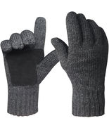 Mens Winter Gloves Warm Wools Knitted Mittens Cold Weather Gloves Access... - $28.00