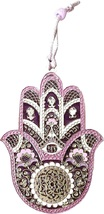 Judaica Kabbalah Hamsa Silver Plated Pink Purple Enamel Wall Hang Evil Eye Hai