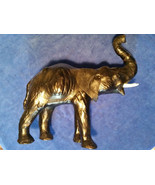 "Vntg Leather Elephant Statue Trunk Up With Tusks 12"" tall - $30.35"