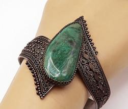 ISRAEL 925 Silver - Vintage Eilat Stone Ornate Bypass Cuff Bracelet - B7243 - $154.28