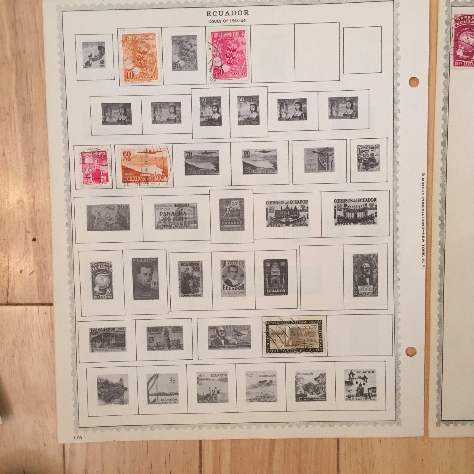 K71 Ecuador 1881-1958 Stamps Minkus Hinged Pages Bicentennial Aereo Servicio
