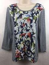 Christopher & Banks Black Stripe Blue Paint / Floral Design Size Petite ... - $14.84