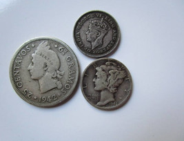 Nice Silver Coin Collection of Three Coins US,Dominican Republic,British... - $25.11