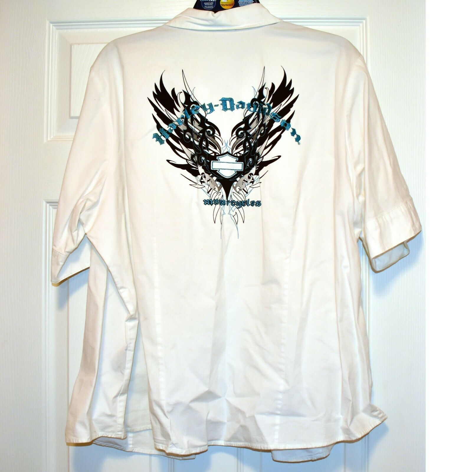 Harley Davidson 96276-09VW Cotton Blend White Button Up T-Shirt Back Graphic