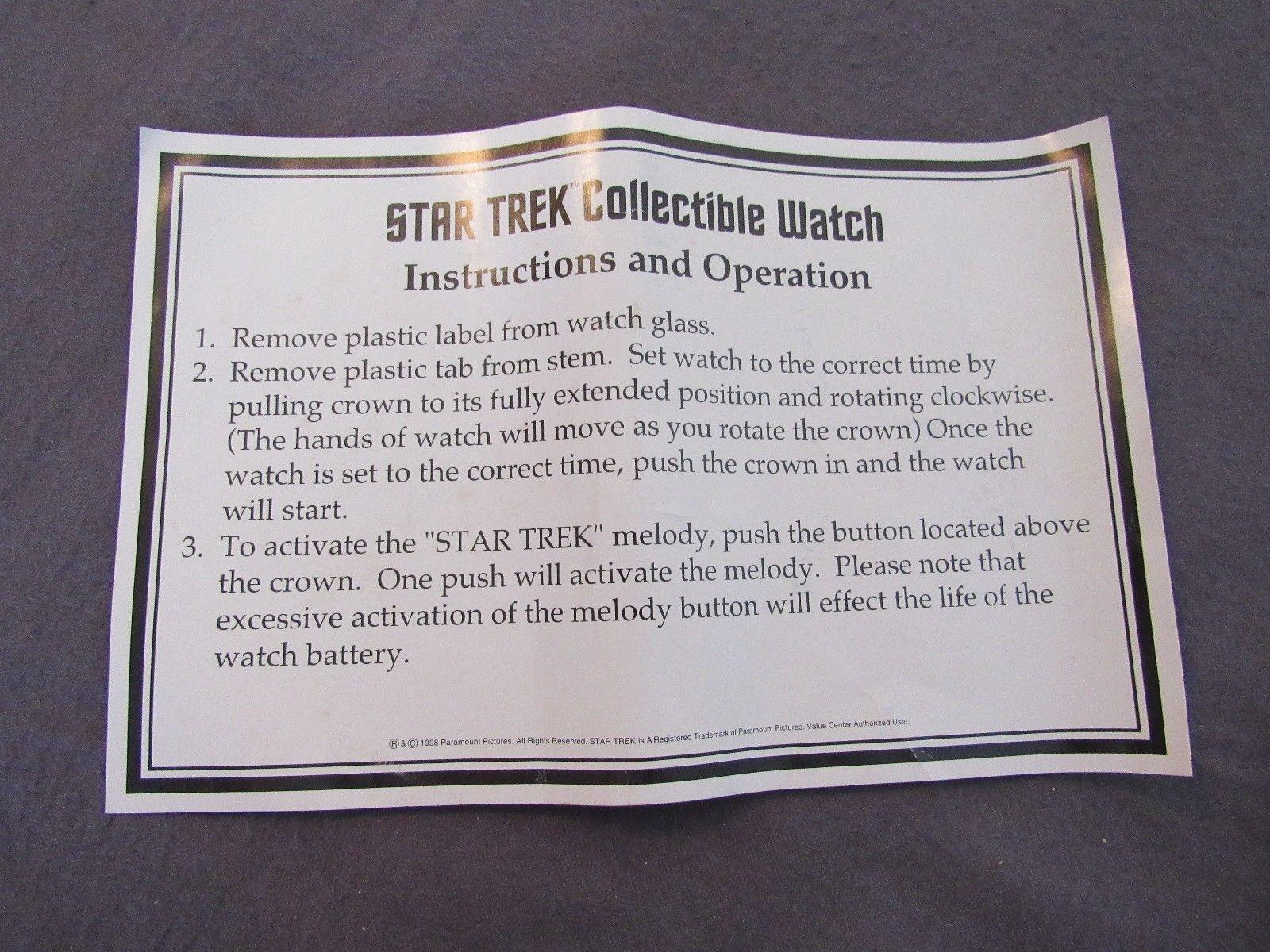 Men's Star Trek (1998) Musical Collector's Watch Still In Case With COA