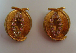 Vintage Signed BSK Gold-tone Rhinestone Double Feather Shaped Clip-on Earrings - $31.68