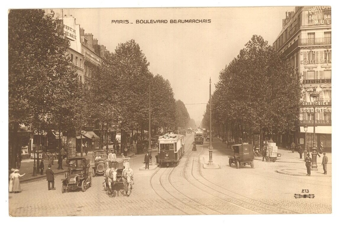 Paris Boulevard Be Aumarchris trolley cars vintage postcard  France