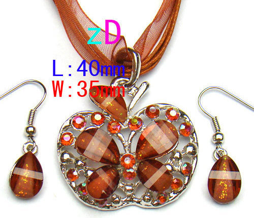 Butterfly Brown Spark Gem  Necklace and Earring  Set