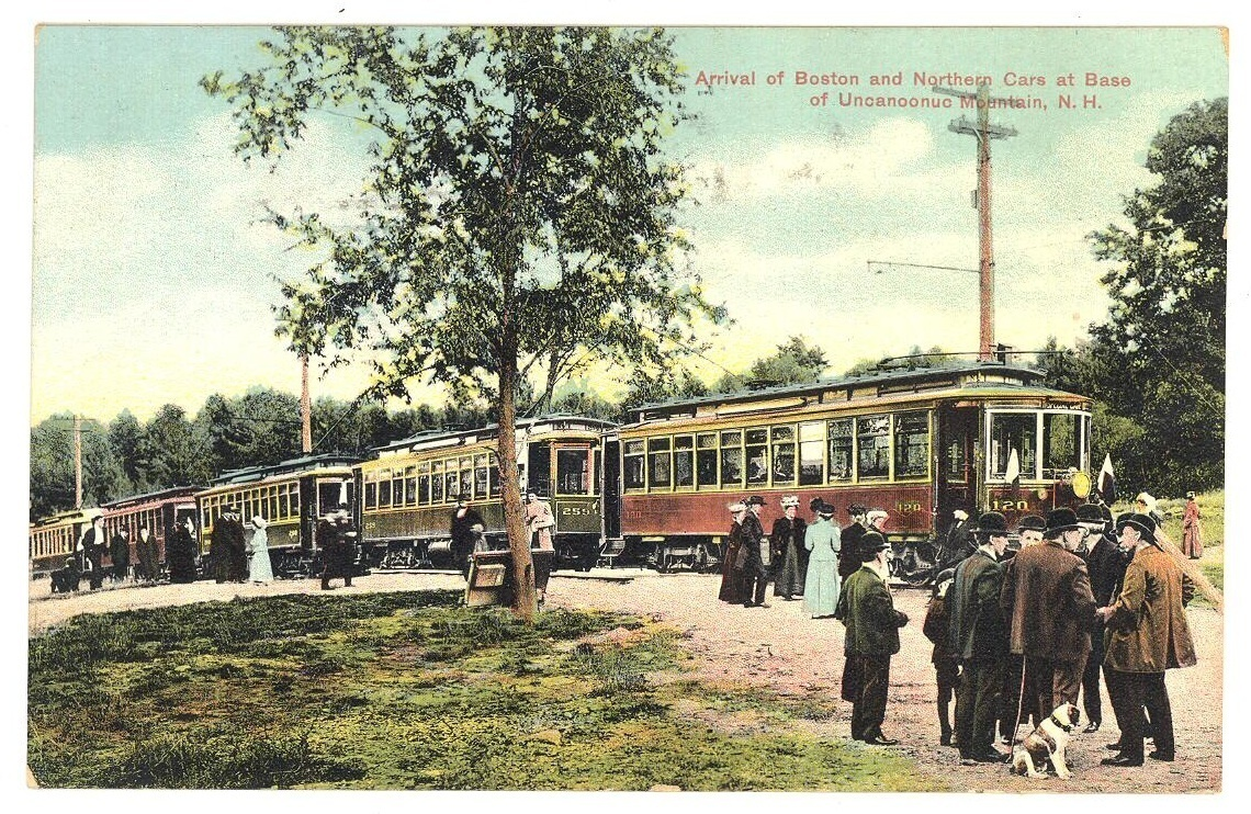 Boston Northern trolley car Uncanoonug Mt NH vintage postcard Victorian