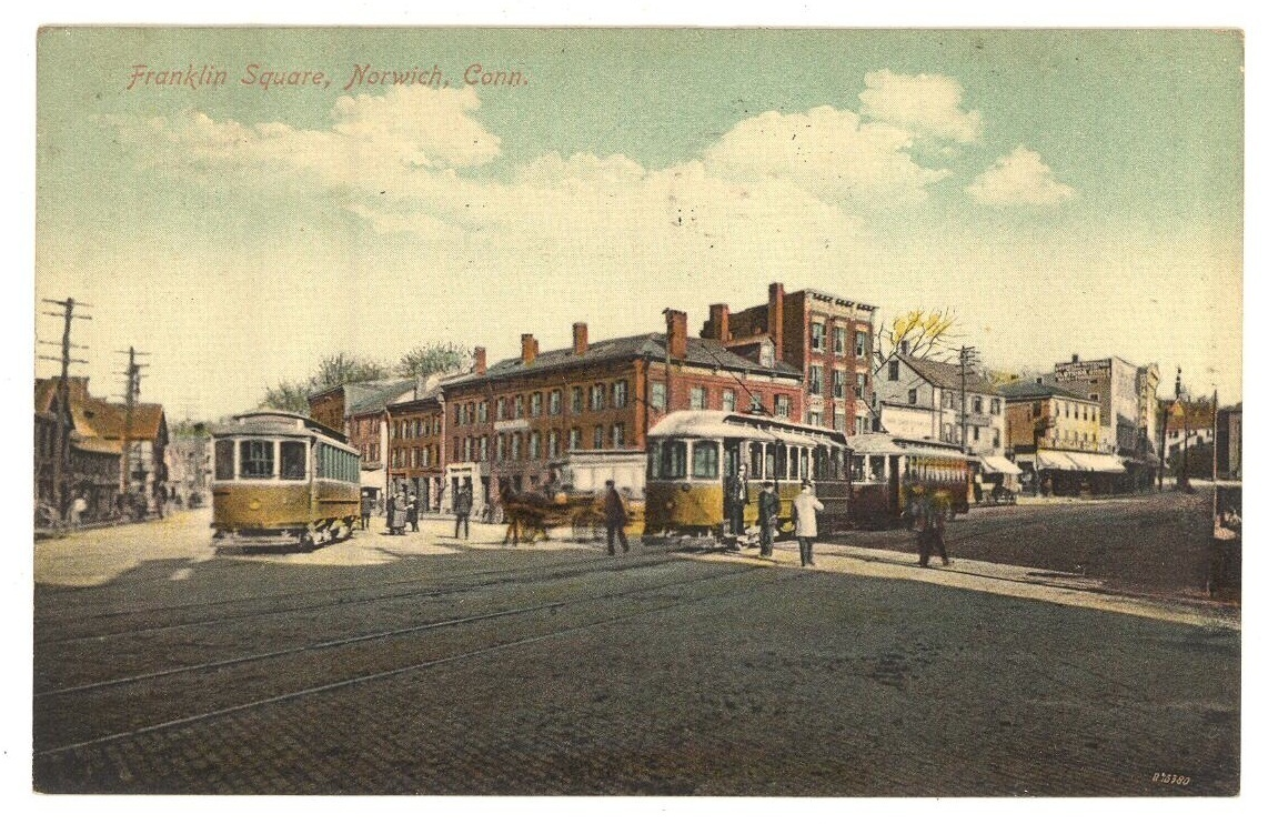 Franklin Sq Norwich Ct trolley cars vintage postcard 1910 Victorian antique