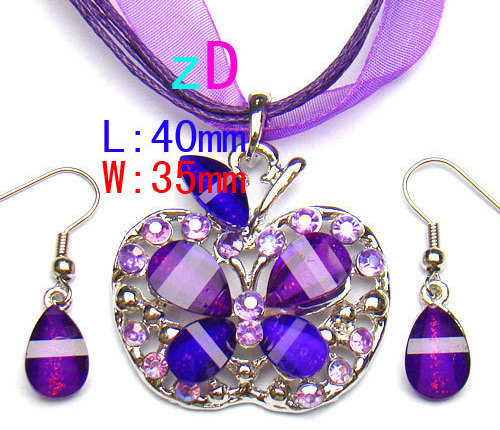 Butterfly Purple Spark Gem  Necklace and Earring Set
