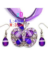 Butterfly Purple Spark Gem  Necklace and Earring Set  - $10.95