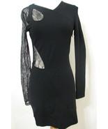 VERSUS VERSACE Bodycon Dress Black Bias Lace Cut Out Asymmetrical NWOT 6/42 - $629.99