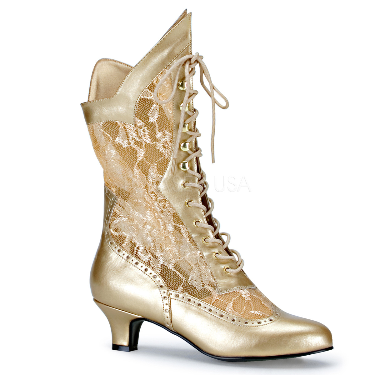 "FUNTASMA Dame-115 Series 2"" Heel Ankle-High Boot - Gold Pu-Lace"