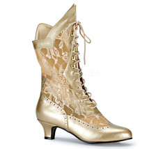 "FUNTASMA Dame-115 Series 2"" Heel Ankle-High Boot - Gold Pu-Lace - $57.95"