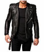 MEN'S LEATHER JACKET MOTORCYCLE BLACK SLIM FIT BIKER GENUINE LAMBSKIN JACKET - $104.99