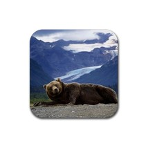 Alaska Bear Animal (Square) Rubber Coaster - $2.99