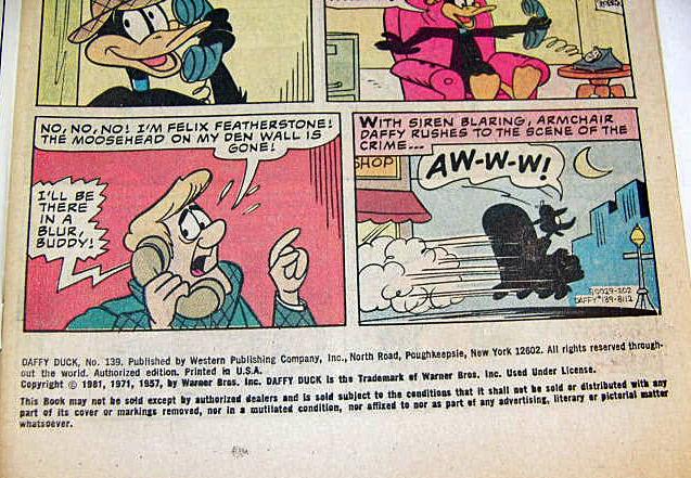 Daffy Duck Comic Book No 139 1981 Warner Bros VGood