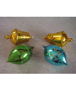 Vintage Stenciled Mica Glass Christmas Ornaments lot of 4 - $32.00