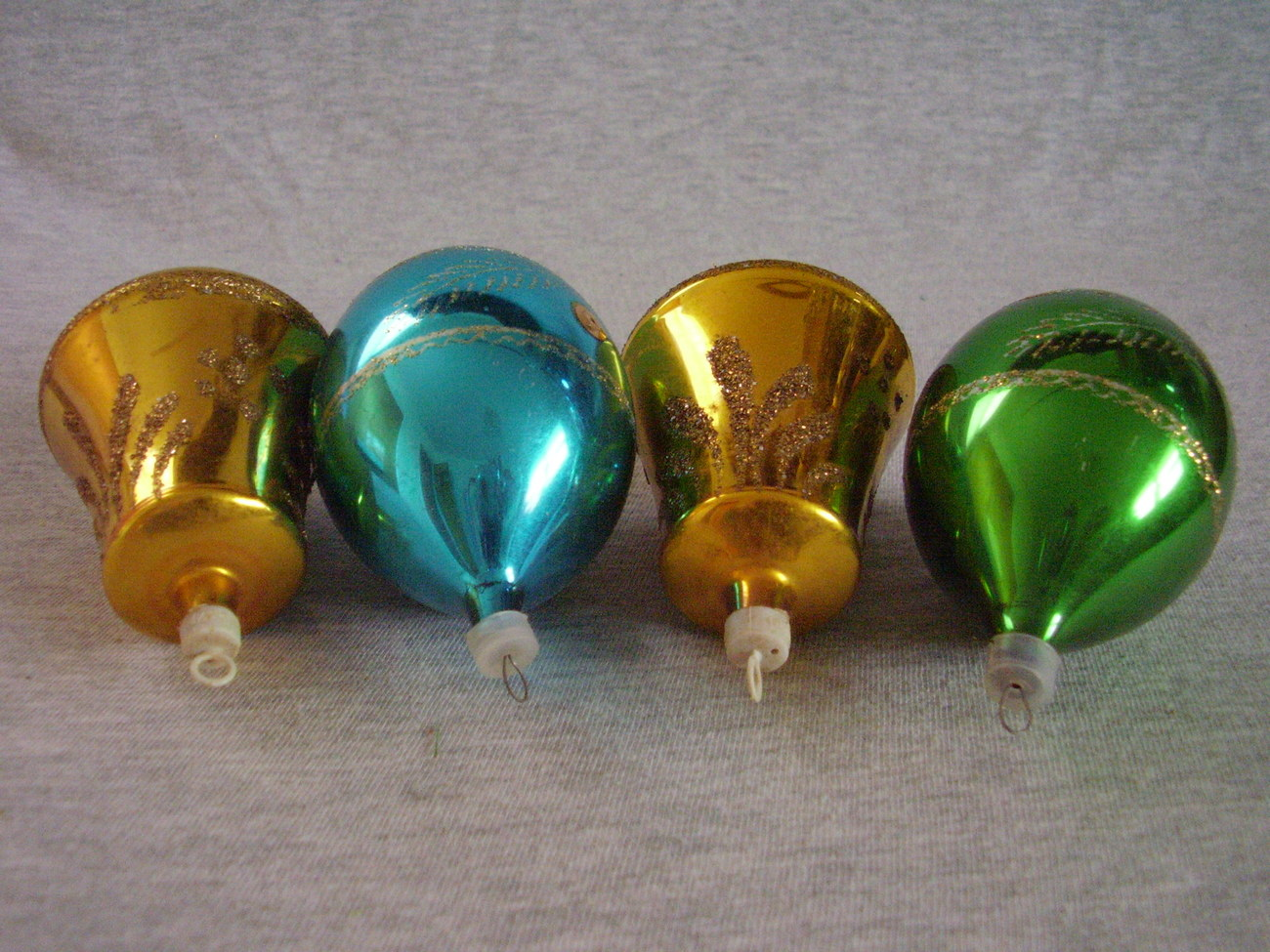 Vintage Stenciled Mica Glass Christmas Ornaments lot of 4