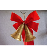 Plastic Gold Glittered Hanging Christmas Bells Red Bow - $30.00