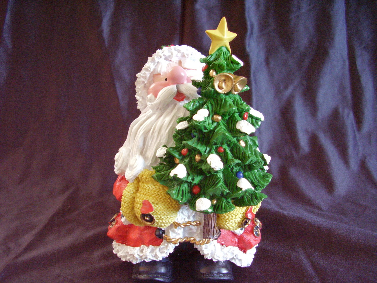 Collectible Santa Decorated Christmas Tree Resin Statue