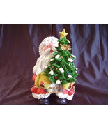Collectible Santa Decorated Christmas Tree Resin Statue  - $31.00