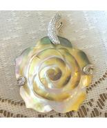 Mother of Pearl Shell Carved Flower Pendant, 50mm - $12.00