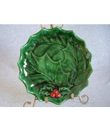 Holland Mold Serving Plate Green Holly Red Berries - $28.00