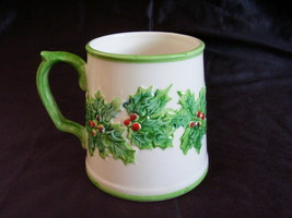 Fitz Floyd Christmas Green Holly Red Berry Mug Hand Painted - $24.00