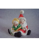 Small Ceramic Sleeping Mr and Mrs Claus Santa Figurine Statu - $20.00